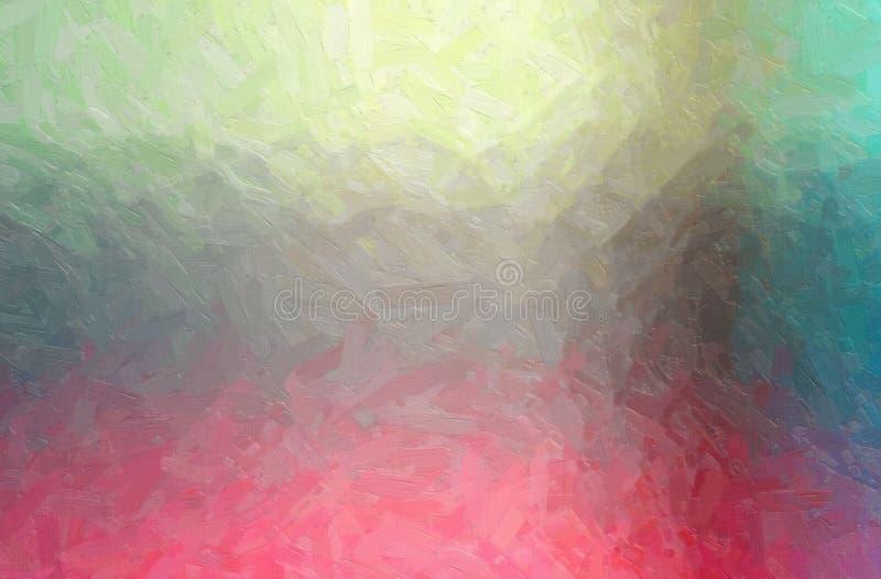 Den abstrakta illustrationen av rött, gulnar, grånar och slösar olje- målarfärg med stor borsteslaglängdbakgrund stock illustrationer