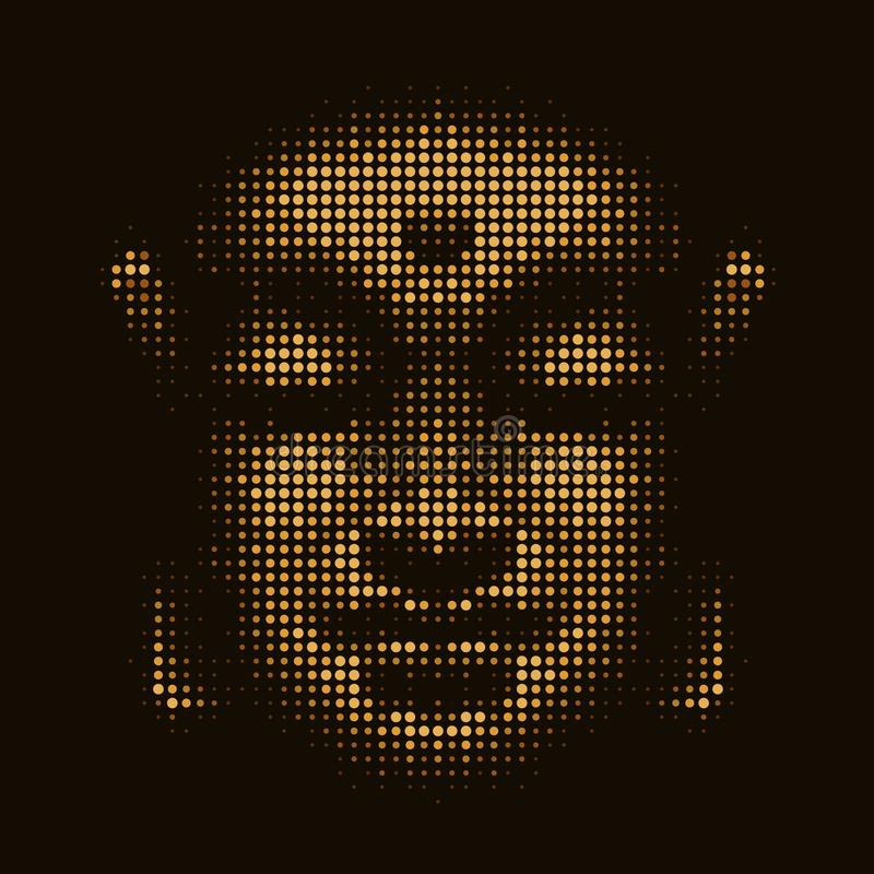 Den abstrakta illustrationen buddha vänder mot med gula guld- kulöra cirkelbubblor på svart design för bakgrundstexturvektor royaltyfri illustrationer
