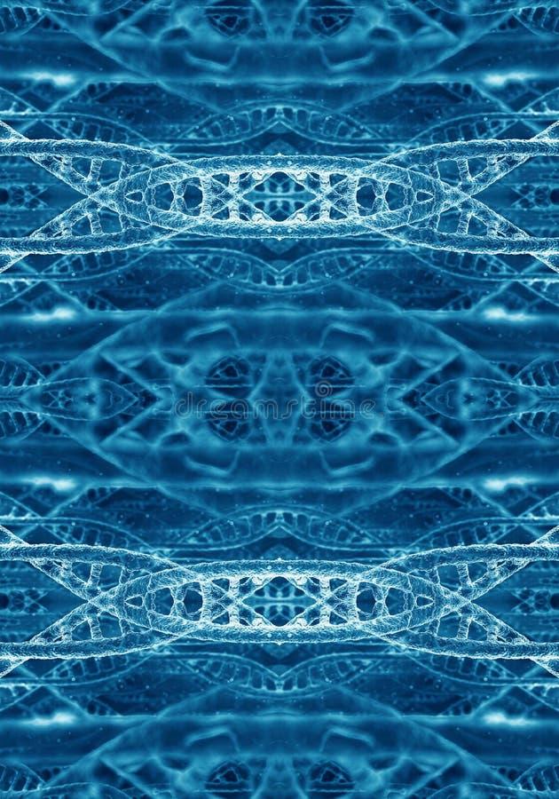 Den abstrakta konstnärliga datoren 3d frambragte illustrationen av färgrik ljus bakgrund för dna-modellkonstverk royaltyfri illustrationer