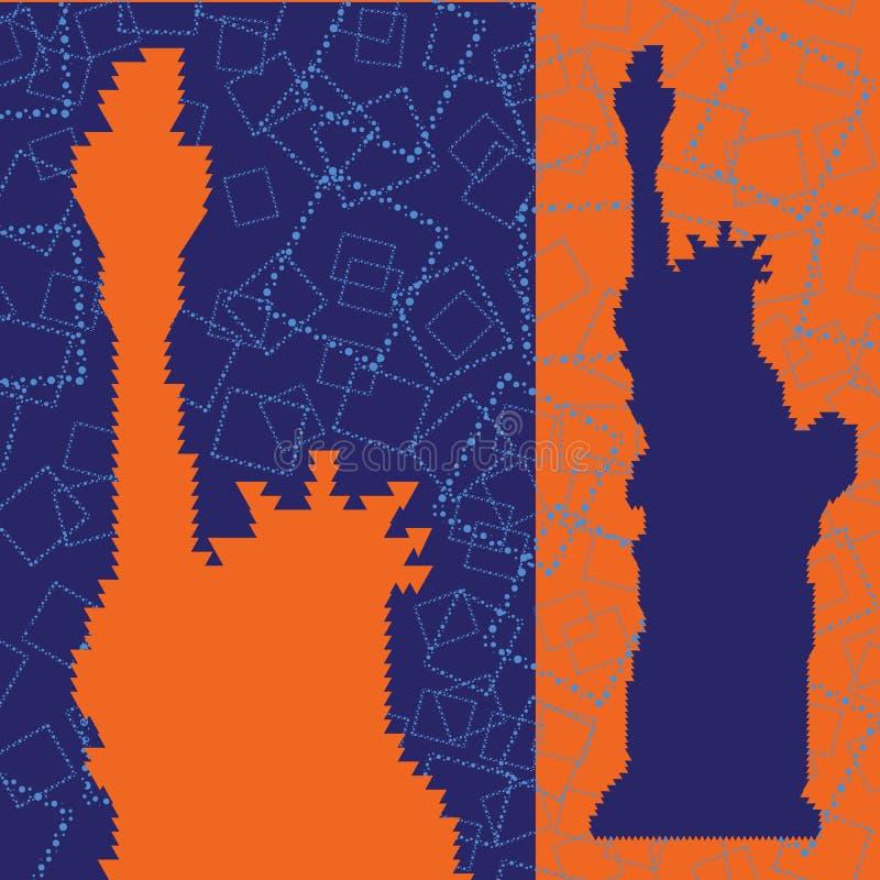 Den abstrakta konturn av statyn av Liberty Triangulated med blått kvadrerar bakgrund stock illustrationer