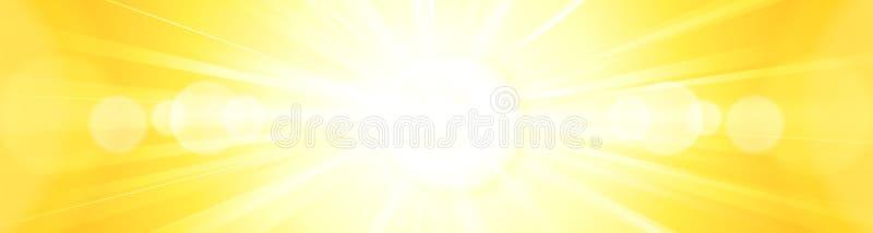Den abstrakta livliga ljusa gula orange solen brast panoramabackgroun stock illustrationer