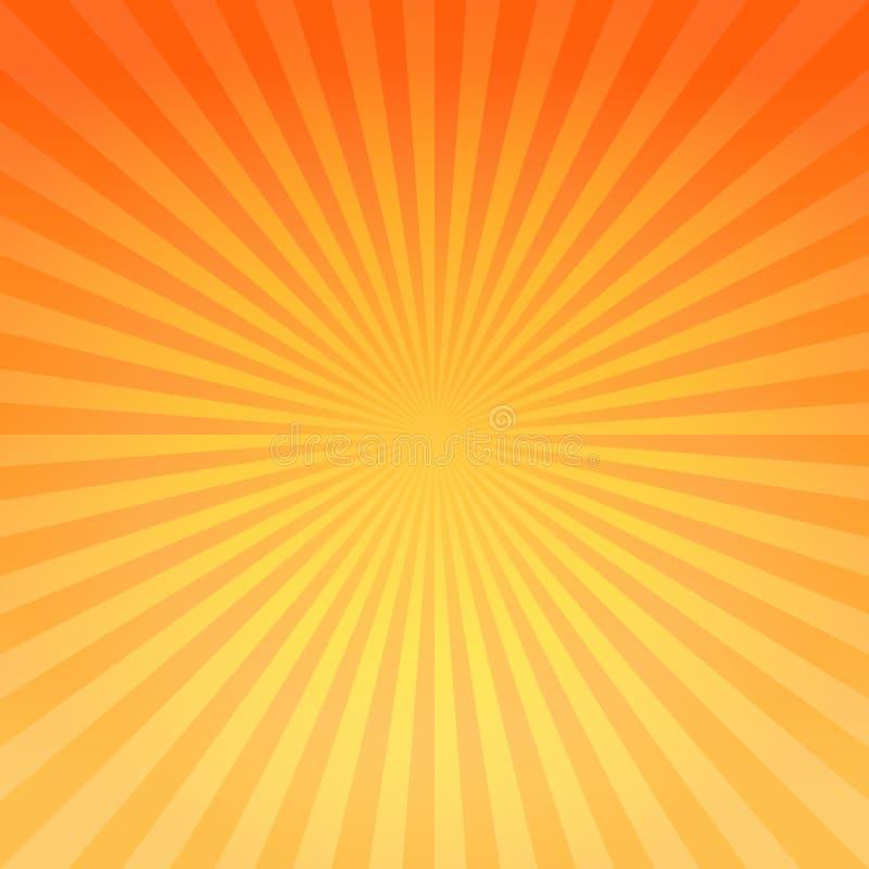 Den abstrakta ljusa gula orange lutningen rays bakgrund Cmyk för vektorEPS 10 vektor illustrationer
