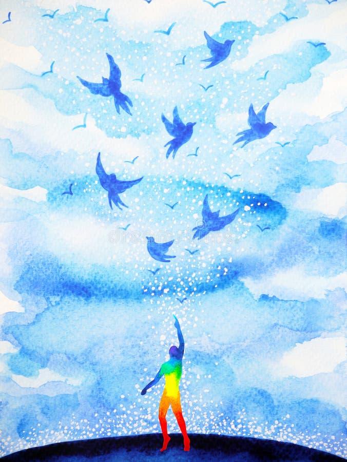 Den abstrakta mänskliga andliga meningen för flygfåglar i blått fördunklar himmel stock illustrationer