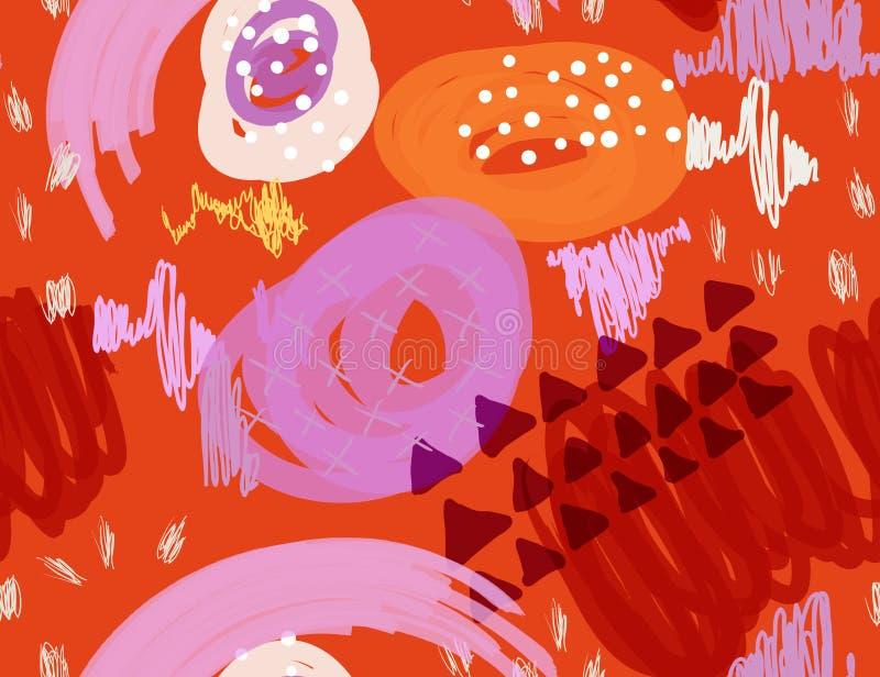 Den abstrakta markören klottrar orange prickar och trianglar stock illustrationer