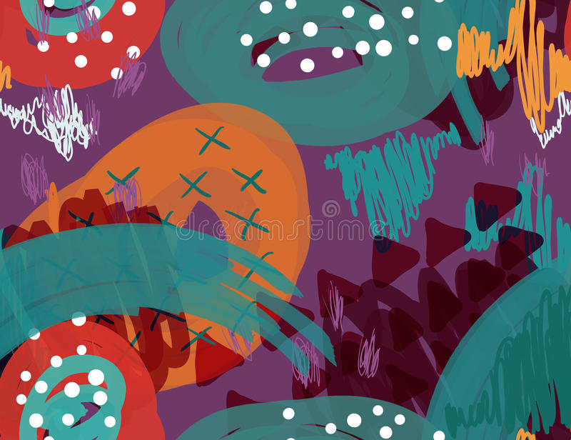 Den abstrakta markören klottrar purpurfärgade prickar och trianglar stock illustrationer