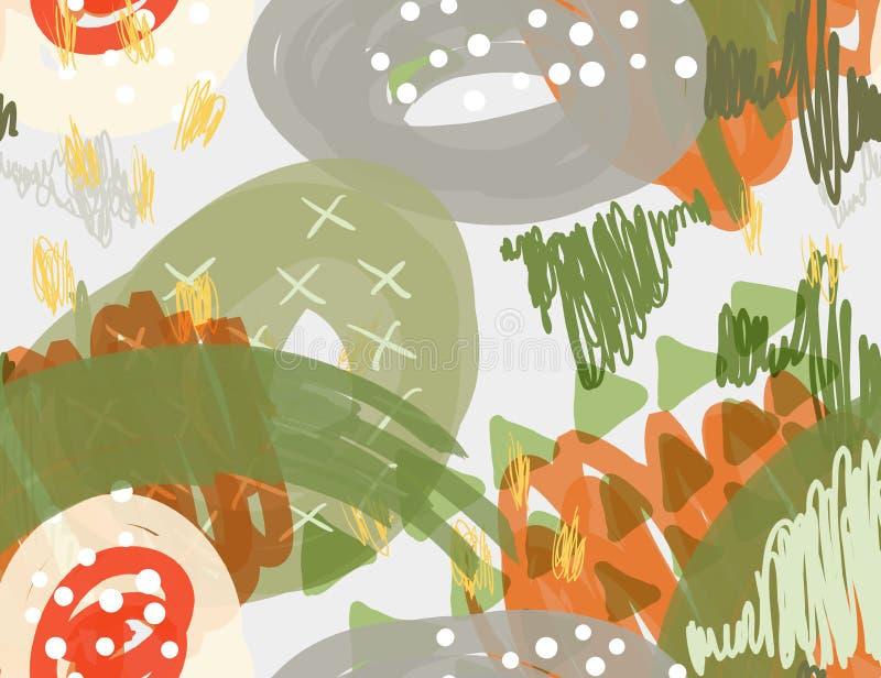Den abstrakta markören klottrar vita prickar och trianglar stock illustrationer