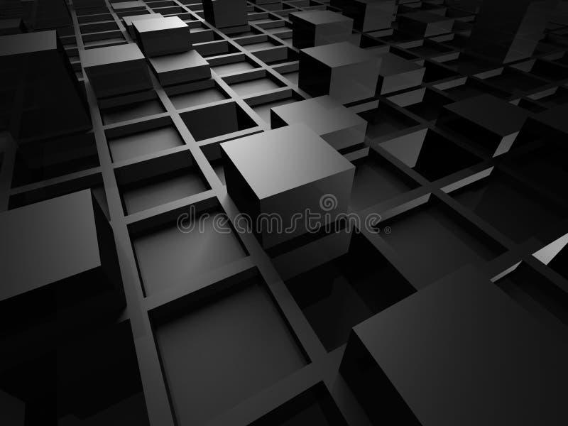 Den abstrakta metalliska svarta kuben blockerar bakgrund stock illustrationer