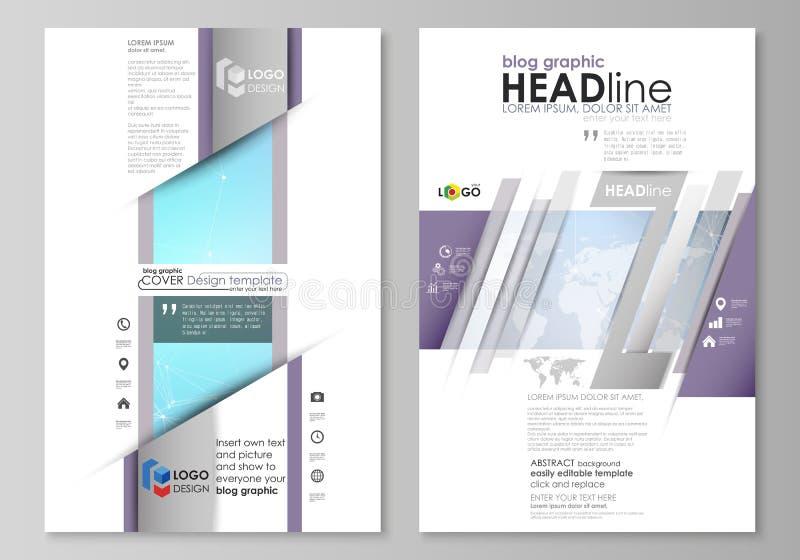 Den abstrakta minimalistic vektorillustrationen av den redigerbara orienteringen av designen för modell för två sidor för modern  royaltyfri illustrationer