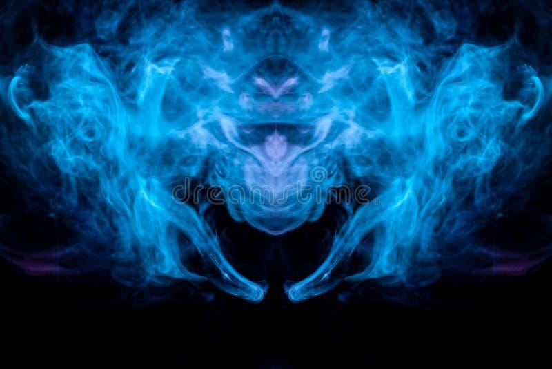 Den abstrakta modellen av bakbelyst blått och turkos för kulör rök tar formen av huvudet av en mystisk varelse med vingar på a royaltyfri illustrationer