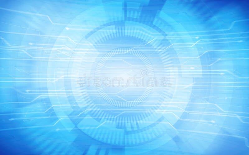 Den abstrakta modellen och cirklar för teknologiströmkretsbräde på blått färgar bakgrund vektor illustrationer