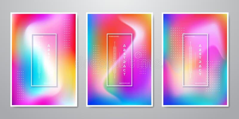 Den abstrakta moderiktiga lutningen formar Holographic bakgrunder för mobil skärm som annonserar, bakgrunden, broschyren, räkning stock illustrationer