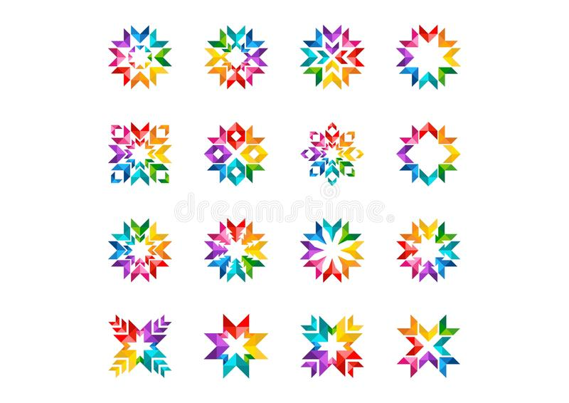 Den abstrakta moderna cirkellogoen, regnbågen, pilar, beståndsdelar, blom-, uppsättningen av runda stjärnor och vektorn för solsy stock illustrationer