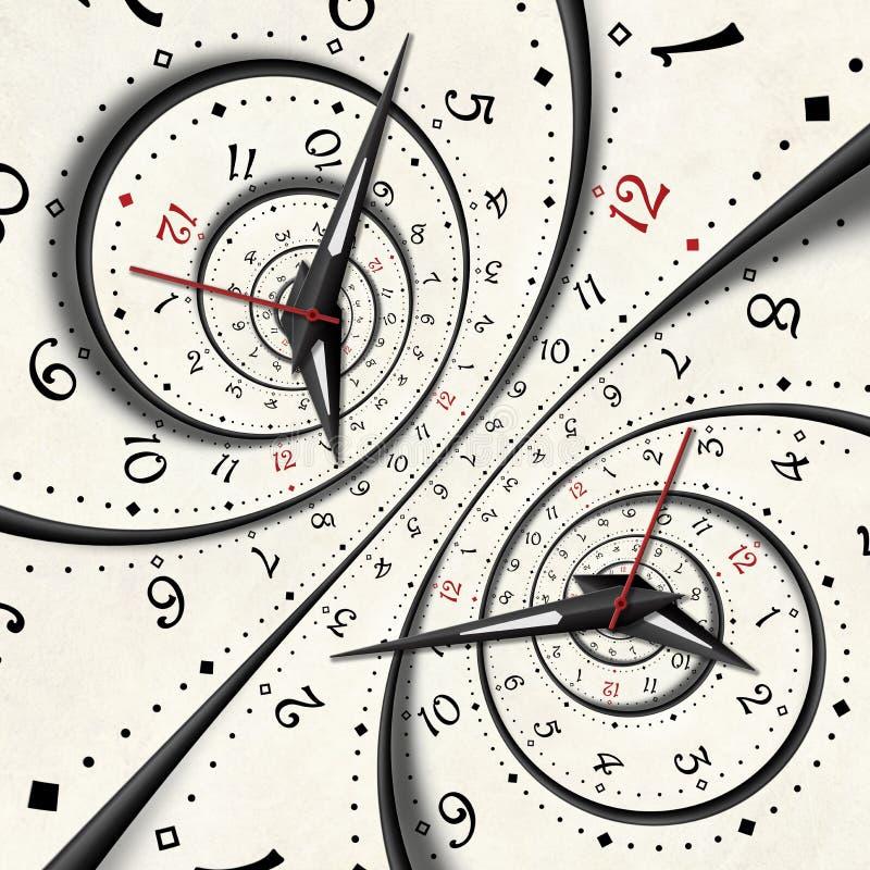 Den abstrakta moderna vita overkliga spiral klockafractalen vred ovanlig abstrakt texturbakgrund för klockan Hög upplösningsklock vektor illustrationer