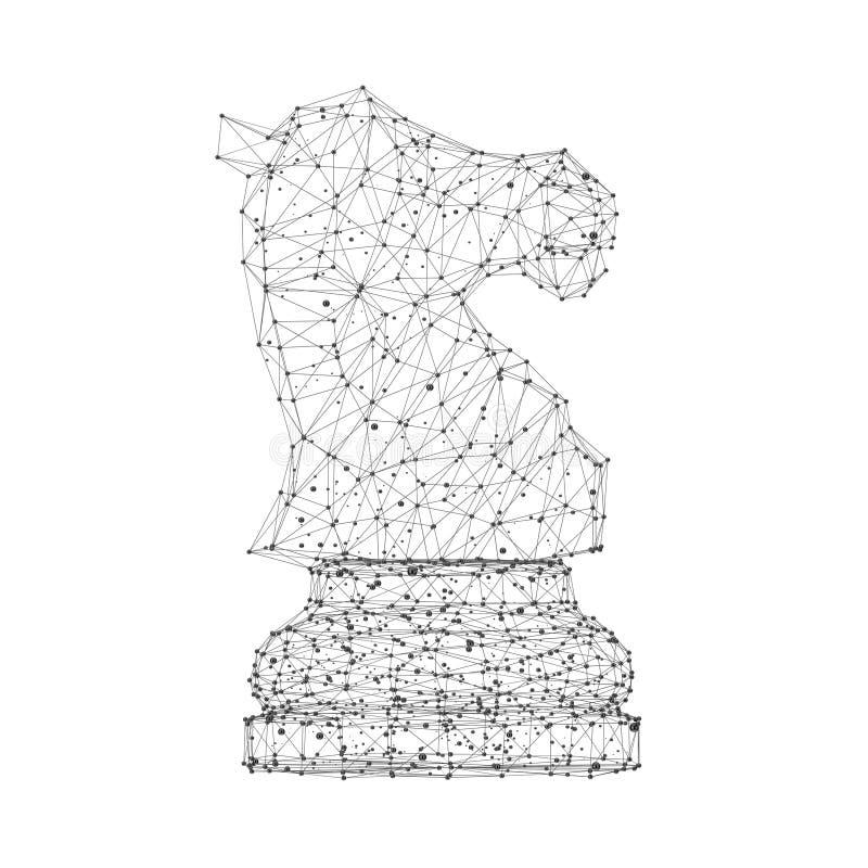 Den abstrakta origamin mosar linjer och Dots Chess Horse framf?rande 3d stock illustrationer