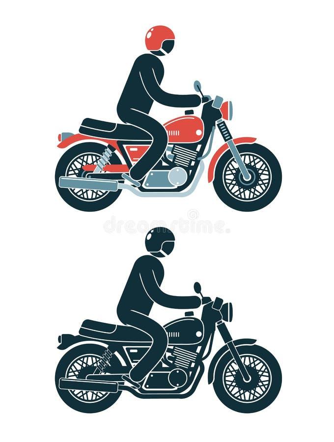 Den abstrakta pictogramcyklisten rider en klassisk motorcykel stock illustrationer
