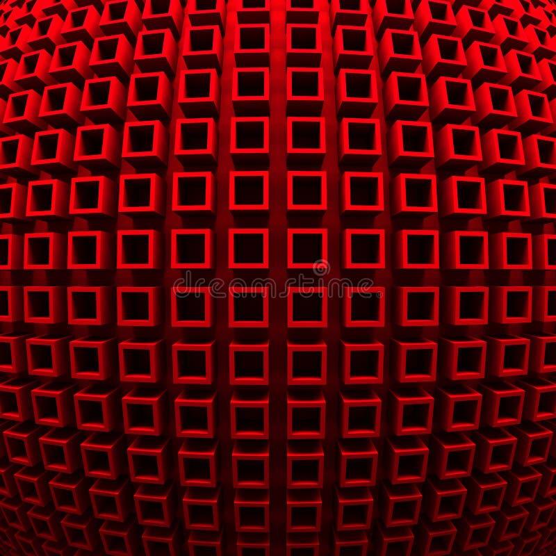 Den abstrakta röda kuben blockerar väggbakgrund royaltyfri illustrationer
