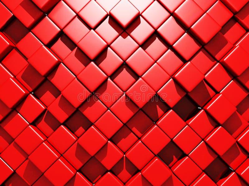 Den abstrakta röda kuben blockerar väggbakgrund stock illustrationer