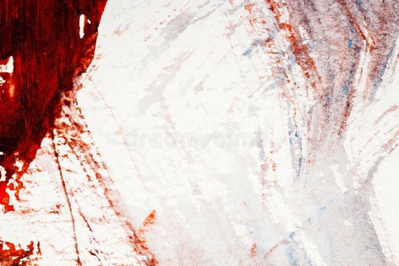 Den abstrakta röda och blåa handen målade akrylbakgrund royaltyfri bild