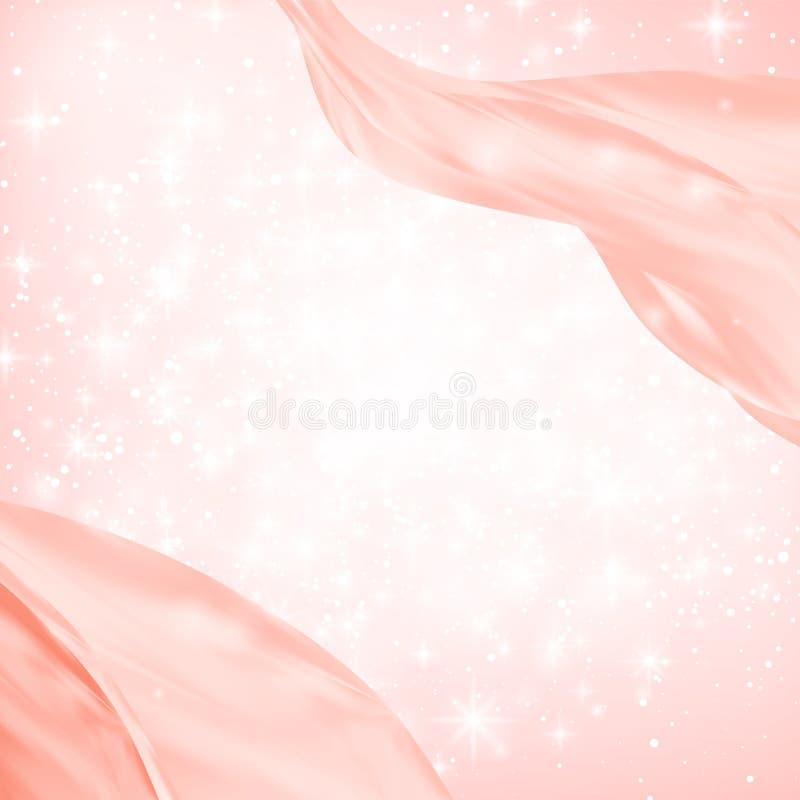 Den abstrakta röda vågen eller linjen flöde över den vita stjärnan, snö, gnistrande brast bakgrund också vektor för coreldrawillu royaltyfri illustrationer