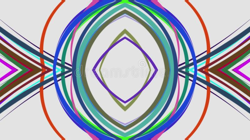 Den abstrakta regnbågen färgar utdragna eleganta linjer som band sätter band nytt universellt färgrikt för härlig illustrationbak stock illustrationer