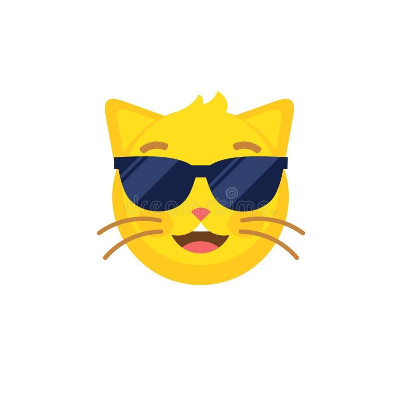 Den abstrakta roliga plana katten för stilemojiemoticonen i solglasögon vänder mot symbolen stock illustrationer
