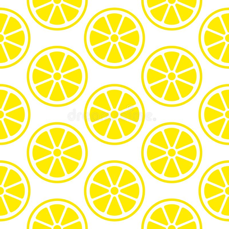 Den abstrakta sömlösa modellcitronen skivar den gula fyrkanten royaltyfri illustrationer