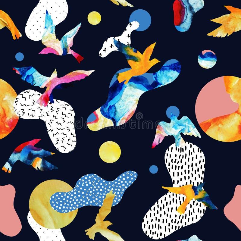 Den abstrakta sömlösa modellen av konturer för flygfågeln, vätska formar, geometriskt, minsta, grunge, klotter, texturer stock illustrationer