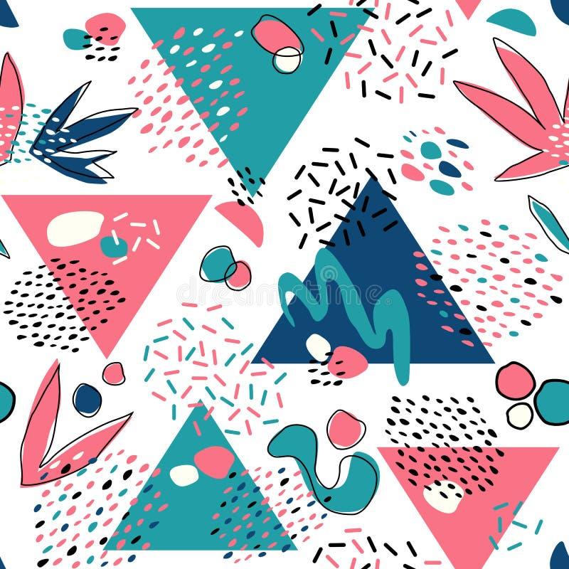 Den abstrakta sömlösa modellen med geometriska beståndsdelar, trianglar, olika linjer, pricker och formar royaltyfri illustrationer