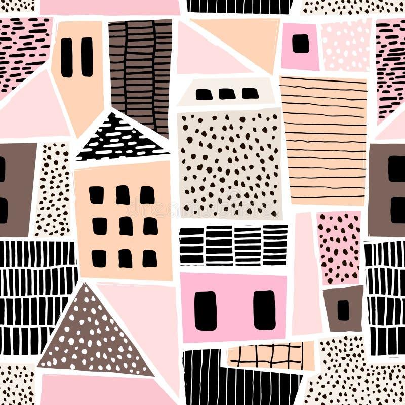 Den abstrakta sömlösa modellen med hus med den drog handen texturerar och formar Göra perfekt för tyg textil tapet Vektorillustra stock illustrationer