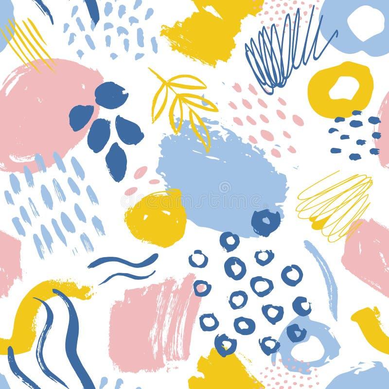 Den abstrakta sömlösa modellen med kulöra målarfärgfläckar, spårar, droppar på vit bakgrund Idérik vektorillustration in vektor illustrationer