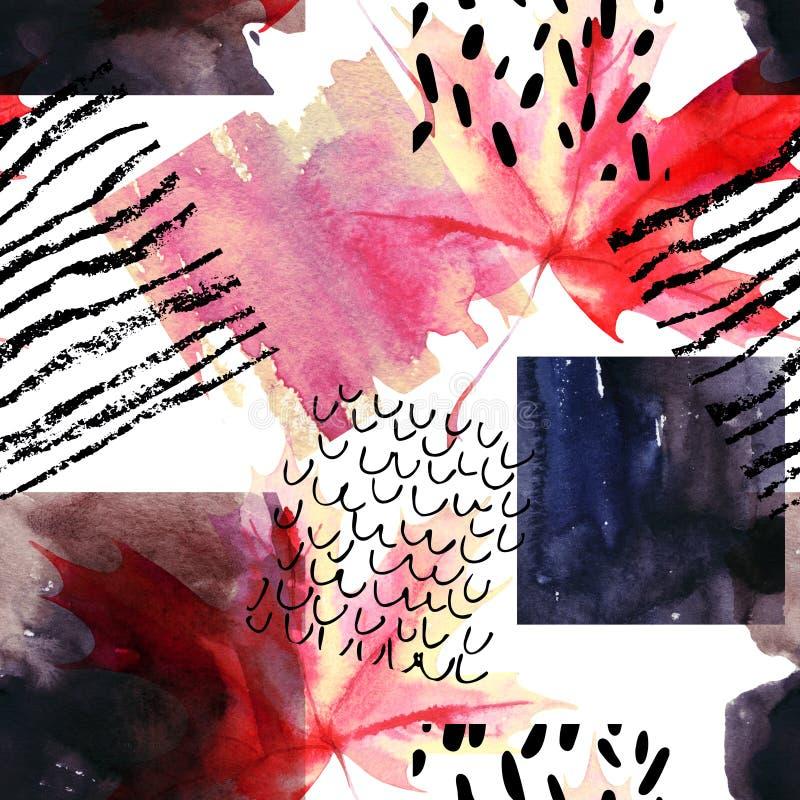 Den abstrakta sömlösa modellen med vattenfärgfyrkanter och hösten färgade lönnlövet royaltyfri illustrationer