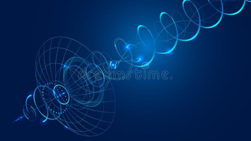 den abstrakta satellit- maträtten för kommunikationen överför och mottar en radiosignal vektor illustrationer