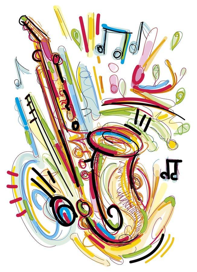 Den abstrakta saxofonen skissar arkivbilder