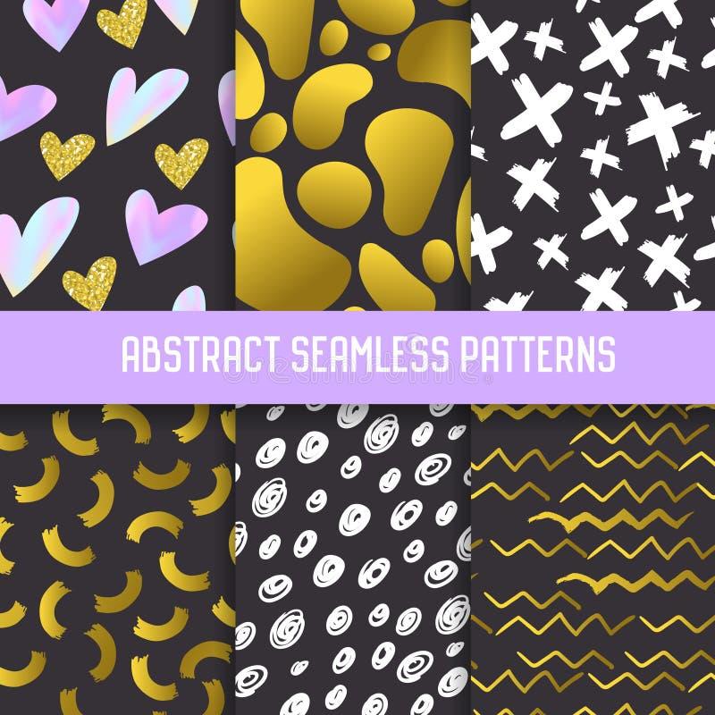 Den abstrakta Semless modelluppsättningen med guld blänker beståndsdelar Mörk hand drog bakgrunder Memphis Style för affischer stock illustrationer