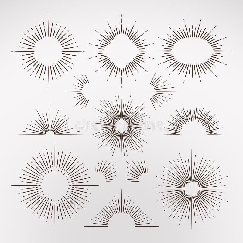 Den abstrakta solen brast strålar med gränsen och inramar uppsättningen för tappningkonstvektorn royaltyfri illustrationer
