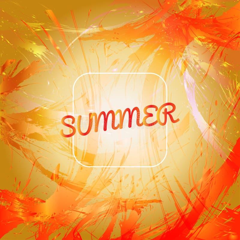 Den abstrakta sommarkortdesignen med den vita ramen över apelsinfärgstänk målade bakgrund royaltyfri illustrationer