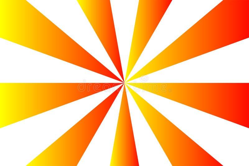Den abstrakta sunburstmodellen, den röda, orange och gula strålen för lutning färgar på vit genomskinlig bakgrund Vektorillustrat vektor illustrationer