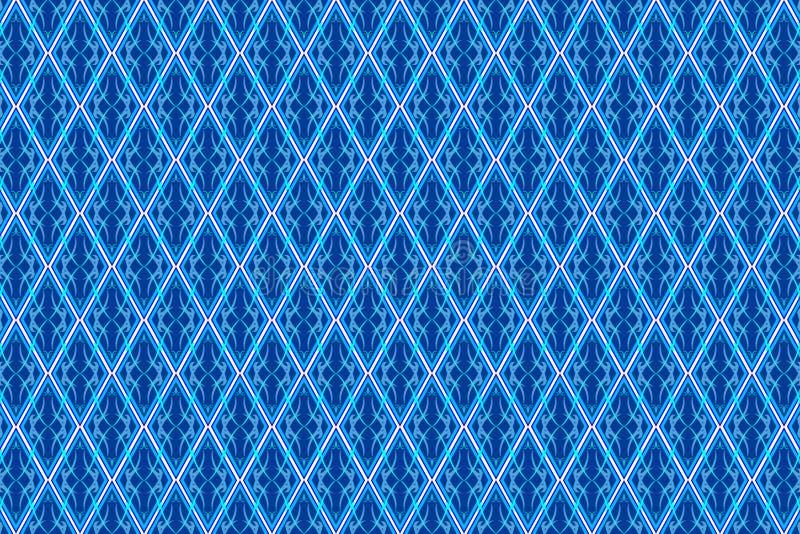 Den abstrakta tappningmodellen i sömlös stil på den blåa diamanten formade quadangle royaltyfri illustrationer