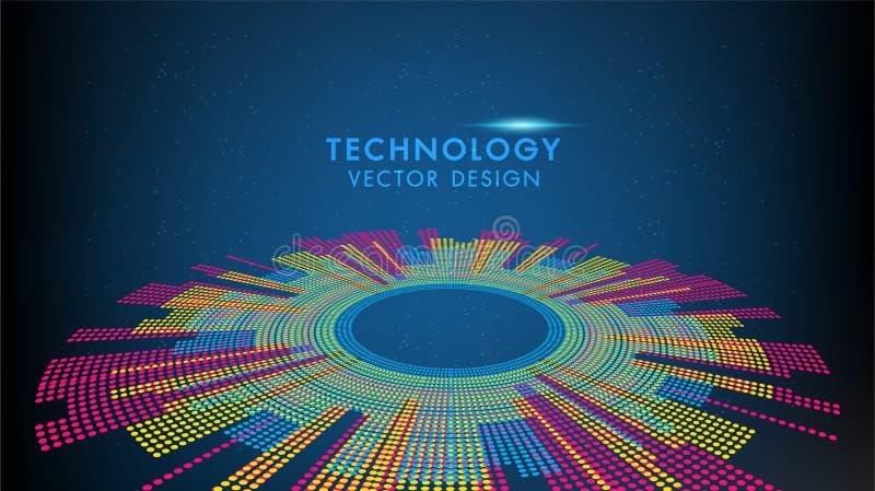 Den abstrakta teknologi- och vetenskapsv?rlden, den grafiska designen f?r f?rgrik jord kan anv?ndas f?r aff?rsinfographics royaltyfri illustrationer