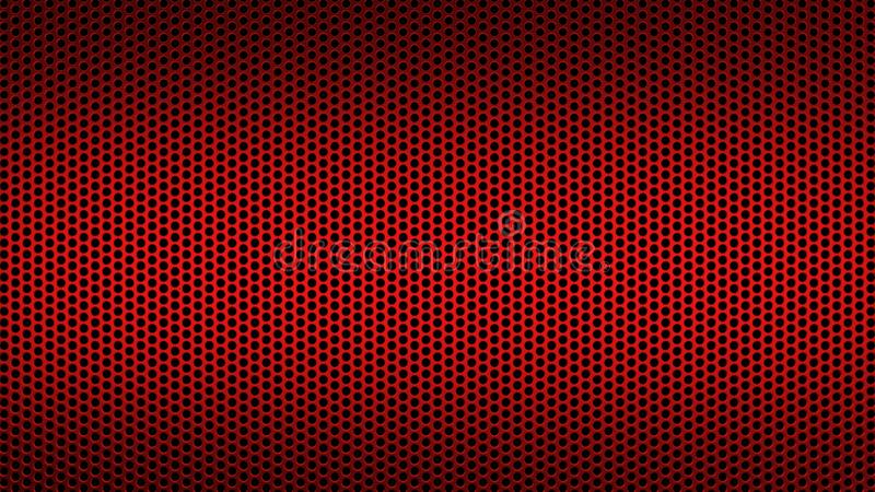 Den abstrakta texturerade modellen med industriell bakgrund för runda hål förvred rött royaltyfri illustrationer