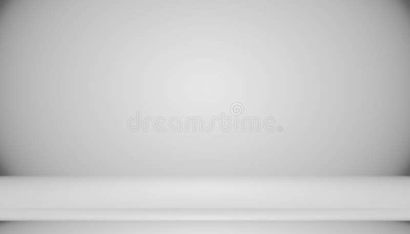 Den abstrakta tomma mörka vita gråa lutningen med den svarta fasta väggen för karaktärsteckningbelysningstudion och golvbakgrunds vektor illustrationer