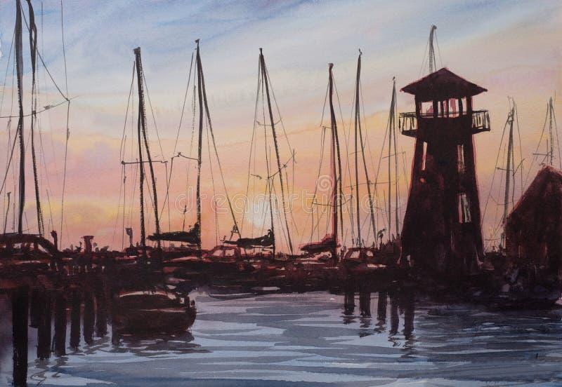 Den abstrakta vattenfärgen skissar av kusten royaltyfria bilder