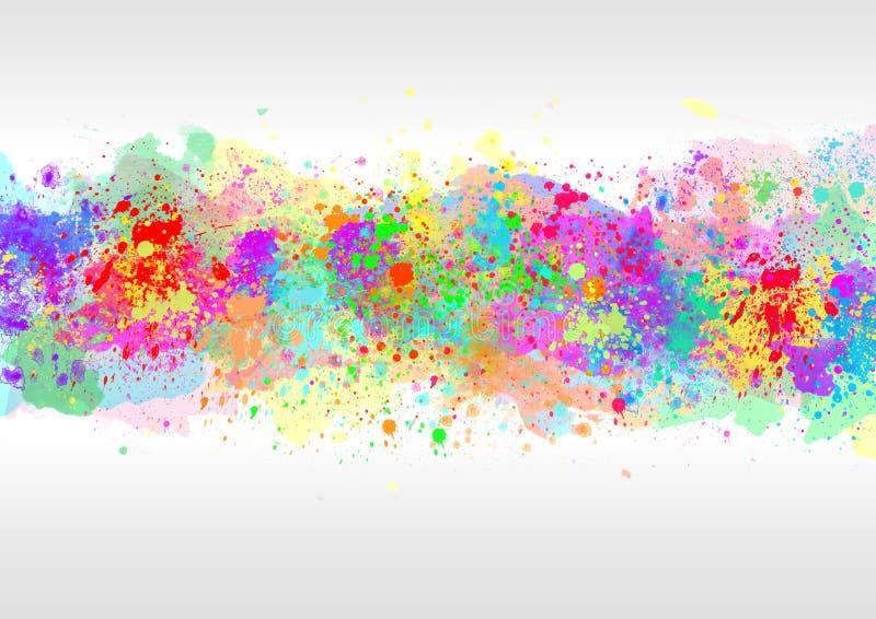 Den abstrakta vattenfärgen stänker i Gray Background vektor illustrationer
