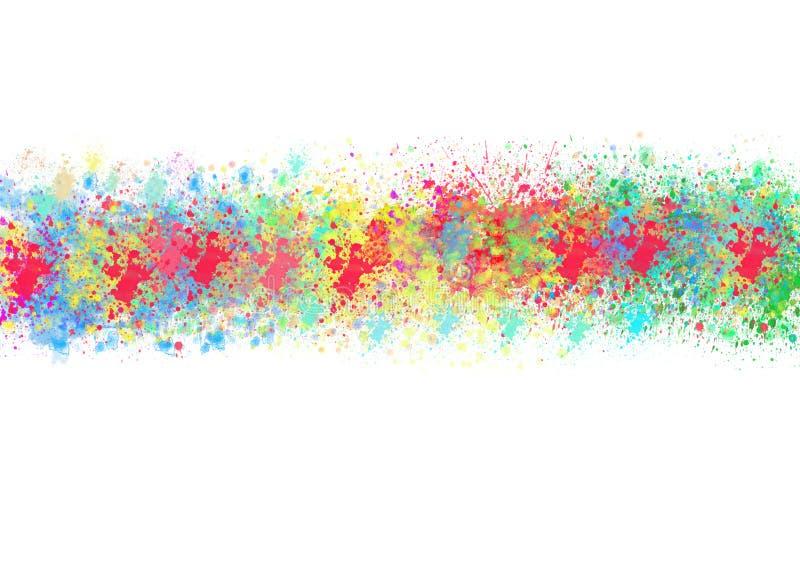 Den abstrakta vattenfärgen stänker med regnbågefärger i vit bakgrund royaltyfri fotografi