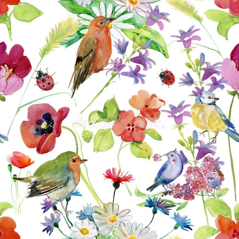 Den abstrakta vattenfärghanden målade bakgrund med blommor och fåglar vektor illustrationer