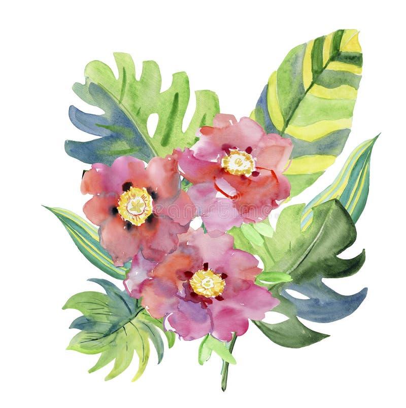 Den abstrakta vattenfärghanden målade bakgrunder med sidor och blommor, stock illustrationer