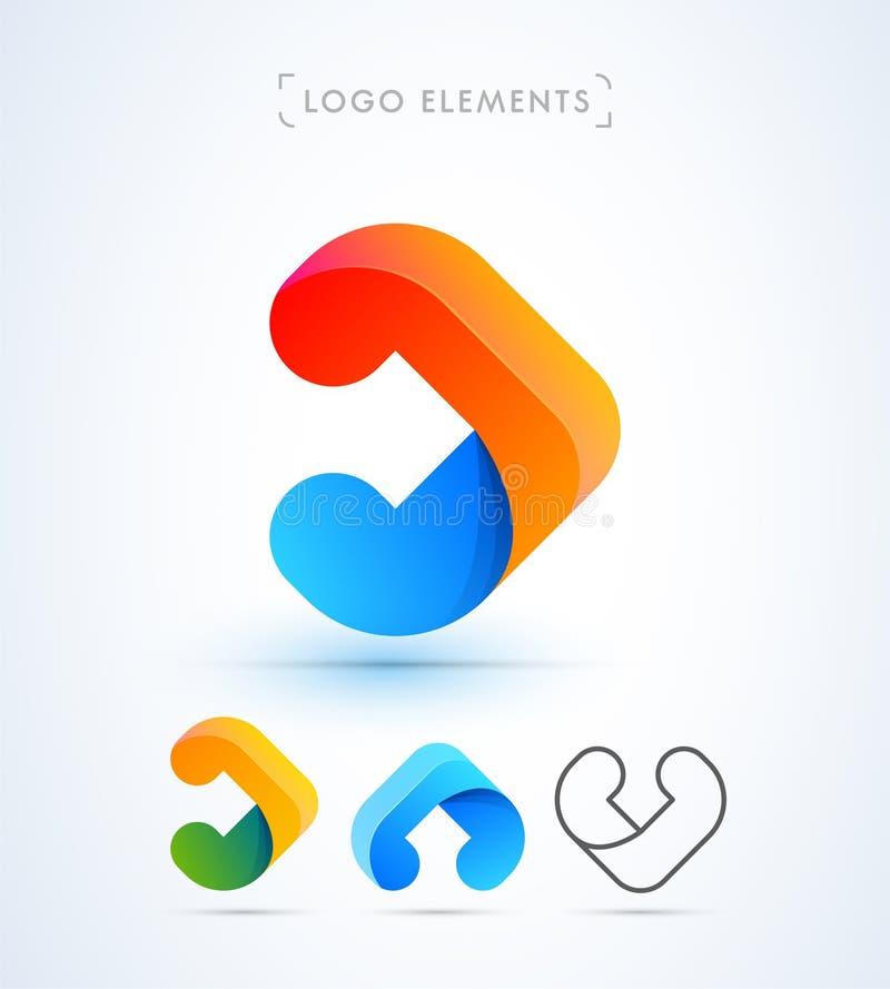 Den abstrakta vektorpilen, märker a eller v-logo Materiell designstil vektor illustrationer