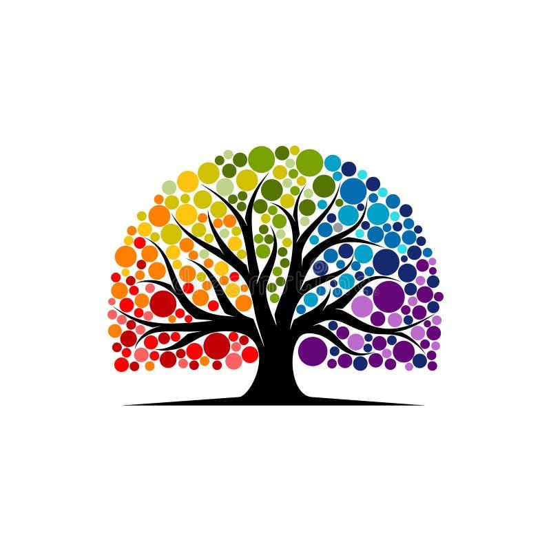 Den abstrakta vibrerande trädlogodesignen, rotar vektorn - träd av inspiration för livlogodesignen royaltyfri illustrationer
