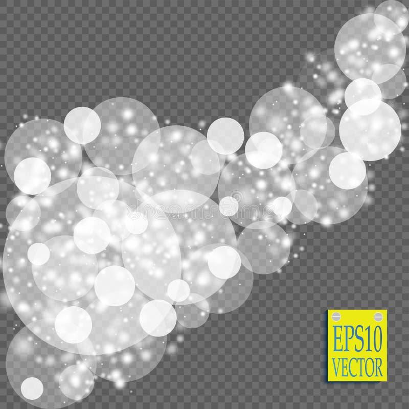 Den abstrakta vita explosionen för ljus effekt för bokeh gristrar modern design Defocused suddighet för glödstjärnabristning Mous stock illustrationer