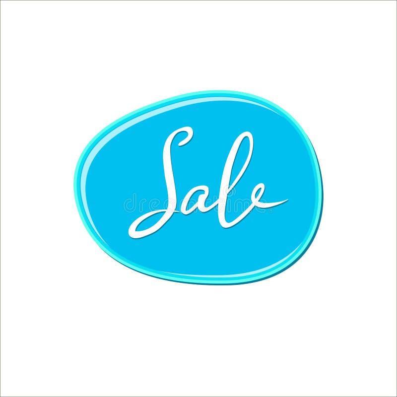 Den abstrakta vita försäljningen undertecknar över den blåa bubbelgumfläcken på vit bakgrund Färgmålarfärgdroppe spika polermedel stock illustrationer